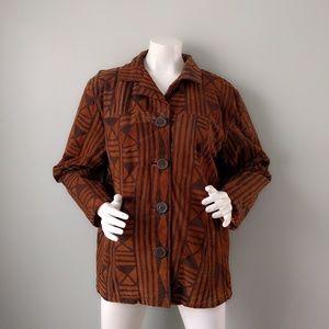 Vtg Tribal Print Batik Brown Suede Jacket L